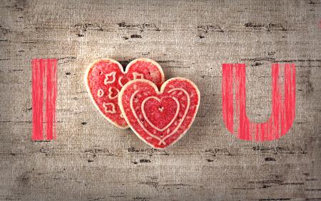 Valentijnsdag hart op stof achtergrond voor wenskaart Stockfoto