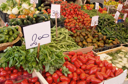 Fresh vegetables in a market in Italy