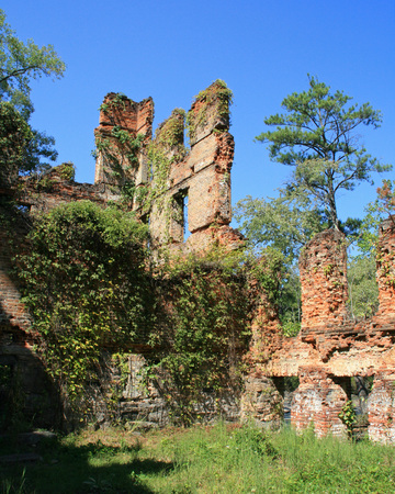 sweetwater: Ruins of New Manchester Manufacturing Company Mill at Sweetwater Creek State Park in Georgia Stock Photo