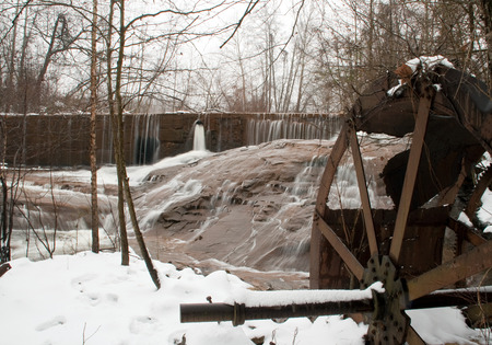 gristmill: Remnants of Woodward Mill on a snow cover day in Georgia