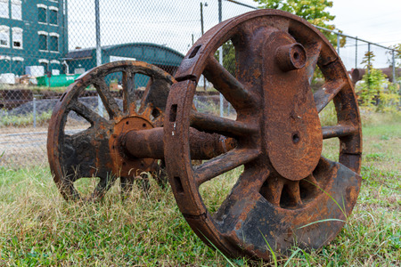 Abandoned wheels from a steam powered locomotive. Virginia Museum Of Transportation Reklamní fotografie