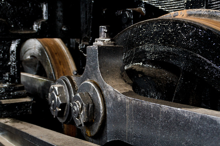 Close up wheels on steam powered locomotive. Virginia Museum Of Transportation