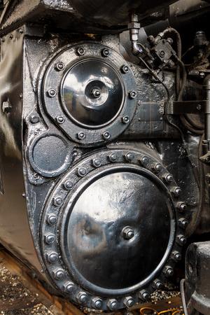 Close up of steam powered locomotive. Reklamní fotografie