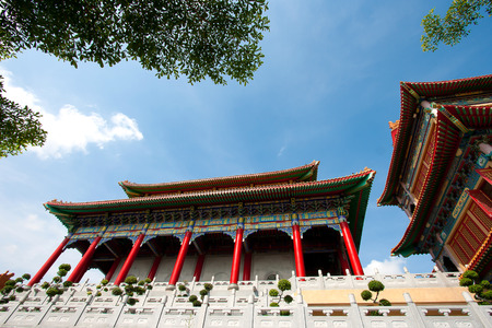 Chinese temple, Wat Leng-Noei-Yi against blue sky in Nonthaburi province, Thailand