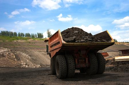 big mining truck unload coal 写真素材