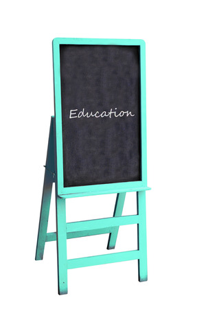Blue blackboard with education text on isolated background photo