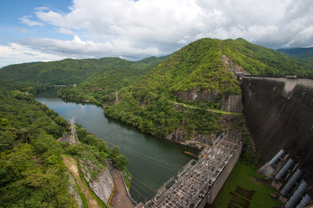 Bhumibol Dam in Thailand. The power station. Reklamní fotografie