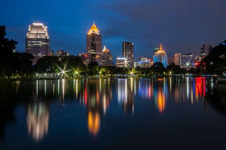 Night scene of Bangkok at night from Lumpini Park photo