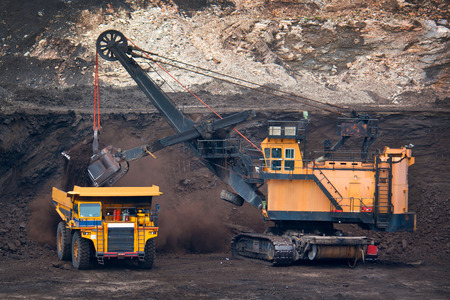 big mining truck unload coal Stock Photo
