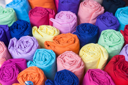 Colorful fabric rolls photo