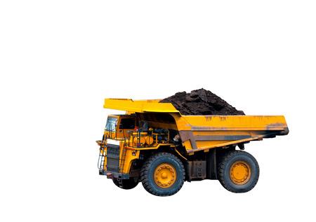 duży żółty ciężarówka wydobycie na białym tle Zdjęcie Seryjne