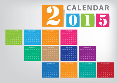 bright colour: Calendar 2015 Vector bright colour design