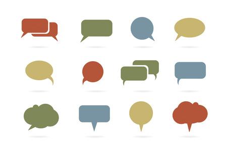 Earth tone speech bubble icons vector