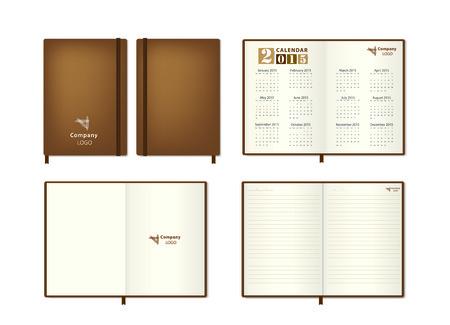 moleskine: Brown leather diary Vector illustration Illustration