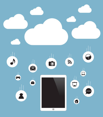 accessing: Concept cloud with computer tablet Vector.