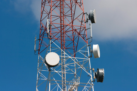 telco: Telecommunication tower under blue sky