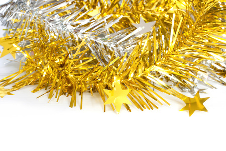 decorate: gold and silver ribbon for christmas decorate