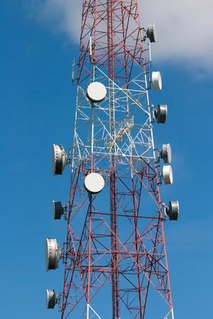 Telecommunication tower under blue sky