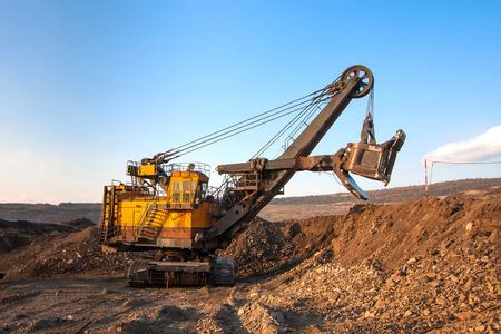 coal-preparation plant. Big yellow mining truck at work site coal transportation, December, 29, 2014 in Lampang, Thailand