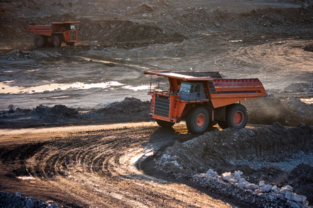 coal-preparation plant. Big  mining truck at work site coal transportation, December, 29, 2014 in Lampang, Thailand
