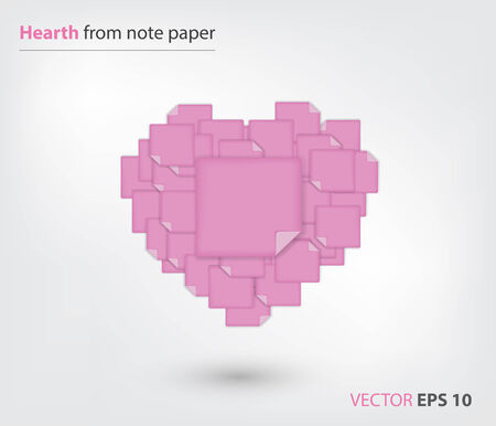note paper: Hearth from pink note paper Illustration