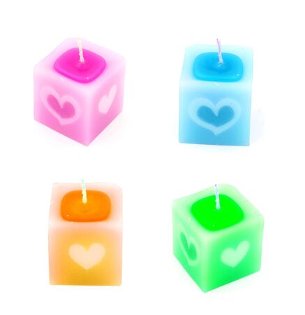 saint valentine: Candle with heart pattern for Saint Valentine