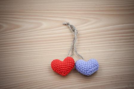feel feeling: Vintage Yarn hearts on wooden background