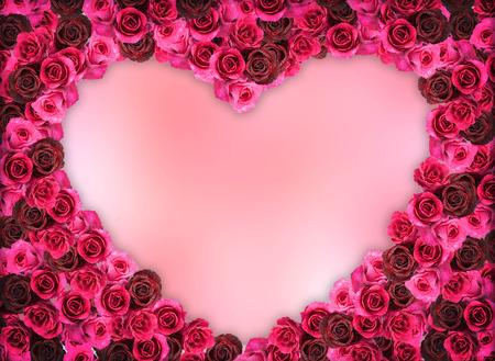ローズ花フレーム ピンク空白のグループ