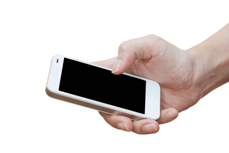 hand holding smart phone: Hand holding smart phone isolated over white background