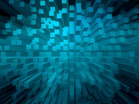 extrude: Blue abstract background with 3d pyramid extrude