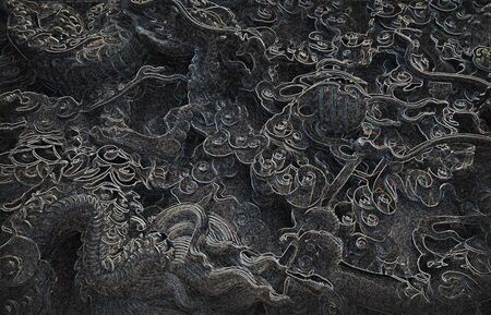 black and white dragon: Chinese dragons pattern texture background Stock Photo