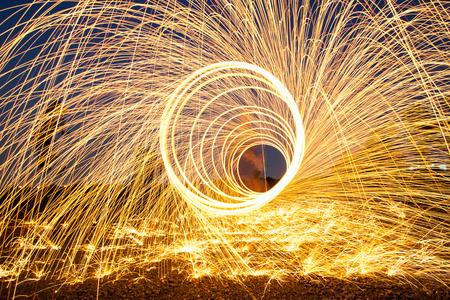 steel wool: Burning steel wool fireworks background