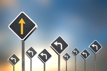 different way: different way concept by traffic sign