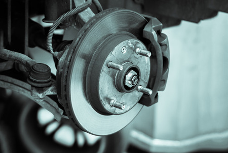 wheel: brake disk and detail of the wheel hub - black and white filter effect