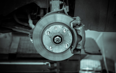 brake disk and detail of the wheel hub - black and white filter effect