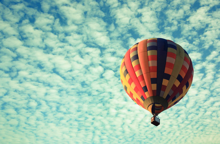 hot air balloon: vintage effect of Hot air balloon in the sky