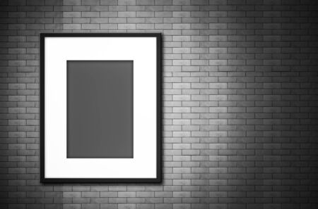 blank photo: black and white blank photo frame on old brick wall Stock Photo