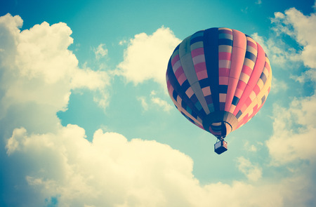 vintage effect style of Hot air balloon in the sky 스톡 콘텐츠