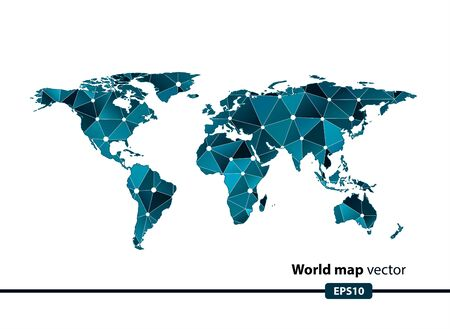 precise: blue geometric World map