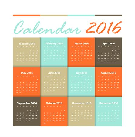 Calendar 2016  earth tone design