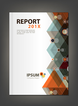 Modern Annual report Cover design, Multiply Triangle and circle theme concept