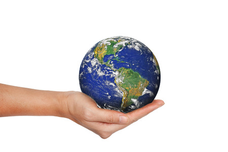 Earth planet in female hand isolated on white