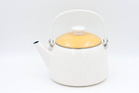 yeloow: Yeloow kettle isolated on a white background