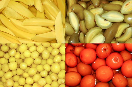 frutta sciroppata: Collage of thai canned fruit  food