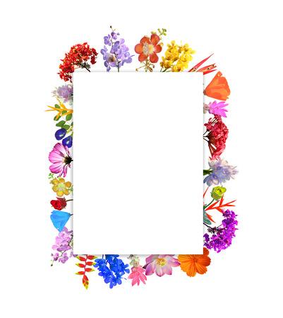 Cadre fleur arrangement isolé sur fond blanc Banque d'images - 44418805