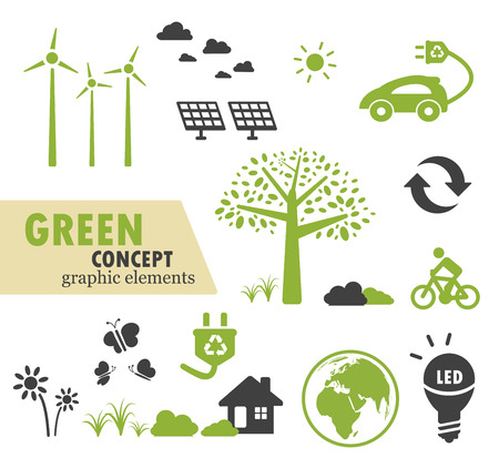 antipollution: Green Ecology icons set for green concept design