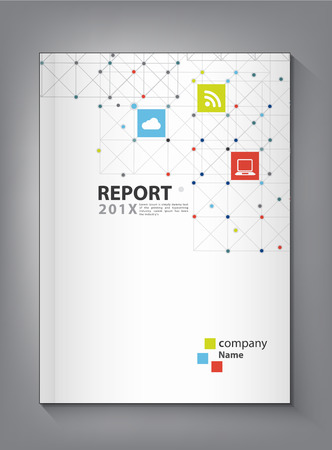 color pages: Modern Annual report Cover design vector dot  technology theme concept