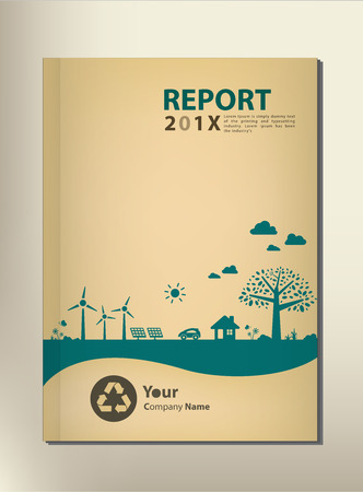 book cover: Go green concept. Save the world vector CSR report Cover design