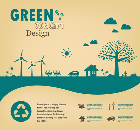 グリーン コンセプトを行きます。世界のベクター デザインを保存します。