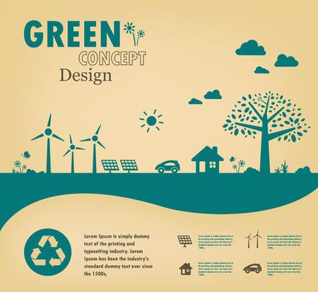 Go green concept. Save the world vector design. Ilustracja